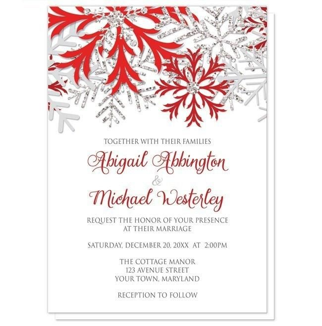 I wanted to share with you these Winter Snowflake Red Silver Wedding Invitations? Do you like them?  | Winter Wedding Invitations and optional matching RSVP reply cards, designed with red, silver glitter-illustrated, and light gray snowflakes over white, and your wedding details printed in red and gray.
