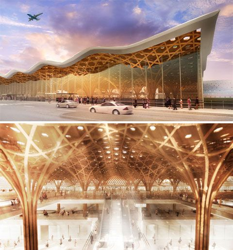 This could be new Zagreb airport (new terminal competition 2008, Croatia). But no. Shigeru Ban won 2nd prize. My fav solution of all works in competition.