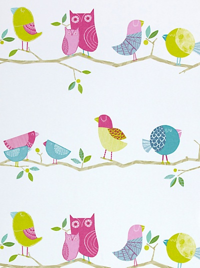 Buy Harlequin Wallpaper, What a Hoot 70515, Pink / Lime online at JohnLewis.com - John Lewis