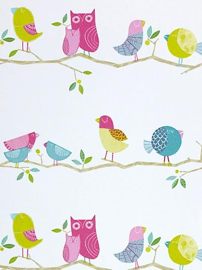 Buy Harlequin Wallpaper, What a Hoot 70515, Pink / Lime online at JohnLewis.com - John Lewis