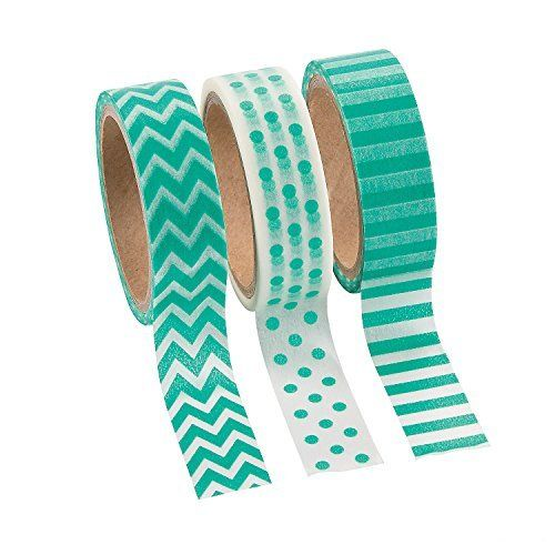 Coordinated Teal Washi Tape Set - 16 Ft. Of Tape Per Roll. Love how you can matching was like coordinating fabric for quilting which there were more sets like these.