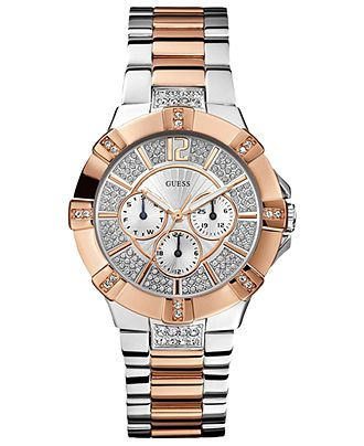 GUESS Watch, Womens Two Tone Stainless Steel Bracelet 41mm U0024L1 - GUESS - Jewelry & Watches - Macys