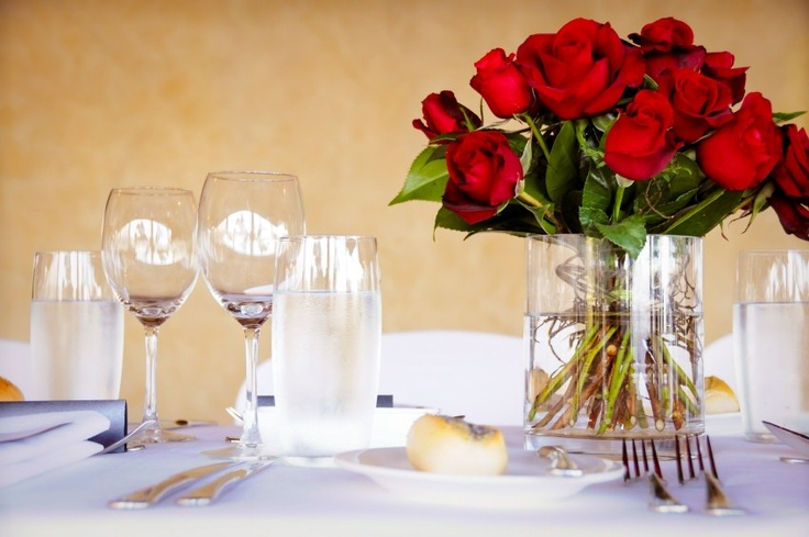 Crisp white linen and red roses ... sometimes simple styling is the most powerful.