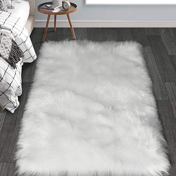 Haocoo Faux Fur Sheepskin Rug Fuzzy Fluffy Rectangle White Area Rugs 3a X 5a Kids Carpet For Bedroom Living R Fur Rug Bedroom Bedroom Carpet Bedroom Area Rug