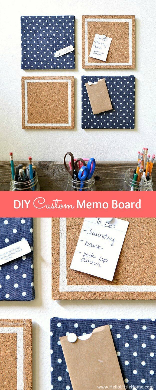 Get Organized With A Cute DIY Custom Memo Board! This Easy To Make DIY Bulletin  Board Is The Perfect Additon To A Dorm Room Or Any Office Space!