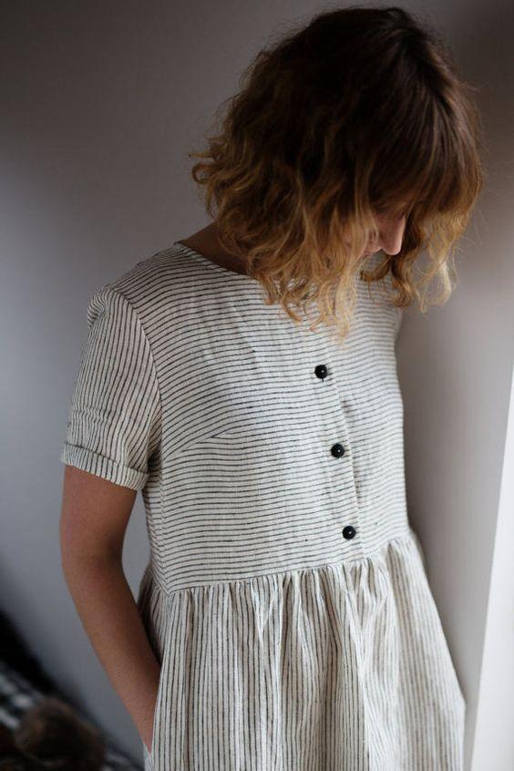 Great Linen Dress – Striped Linen Dress – Organic Linen Dress – Linen Short Sleeve Dre…