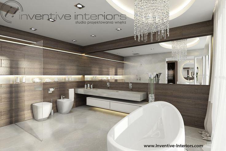 Projekt domu z widokiem Inventive Interiors - łazienka z drewnem