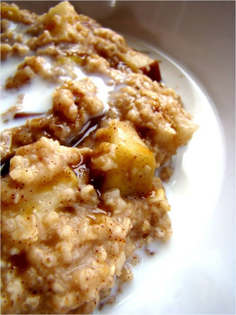 apple cinnamon oatmeal; for a healthier choice, sub frozen steel cut oats, for quick oats, grain and fiber benefit