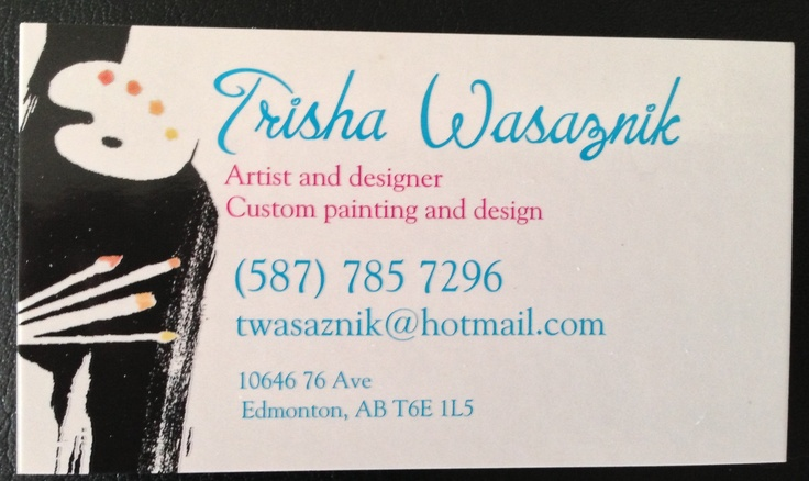 this is my personal business card, if interested in getting canvases done feel free to email or text me at the contact info provided!