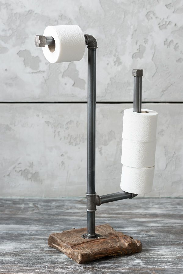 This is stylish toilet paper holder will decorate your bathroom.  Stand is antique granary boards, treated with Danish toning oil on wood and covered with high-quality hard wax.  The holder is made of steel pipes, connected together by cast iron fittings on high-quality threaded connections.   Dimensions: 75*20*20 cm