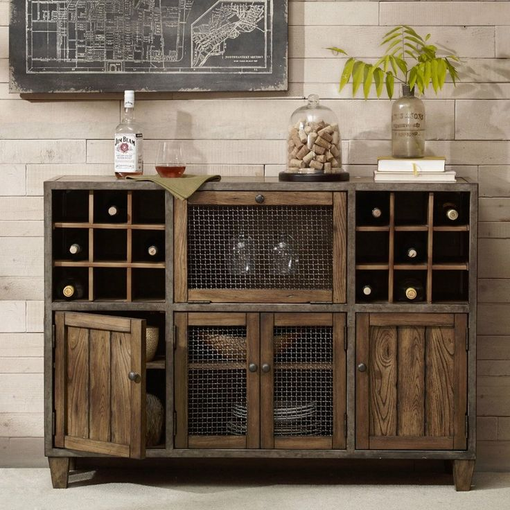 Industrial Rustic Liquor Storage Wine Rack Wood Buffet Cabinet With Distressed Finish