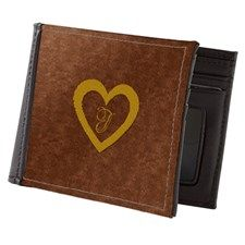 Cute Gold Monogrammed Heart Copper Mens Wallet