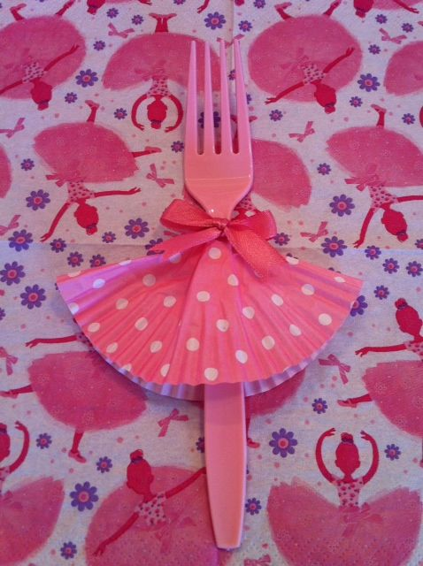 Dancing Fork ~ fun idea for ballet, princess, or any girly birthday party.