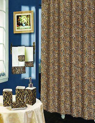 RT 20PC BROWN LEOPARD BATHROOM SHOWER CURTAIN CERAMIC TOWEL SET NEW DESIGN
