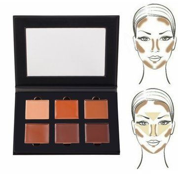 Face Contour Cream Kit Highlight Concealer Palette 6 Colors Makeup Bronzer Shade
