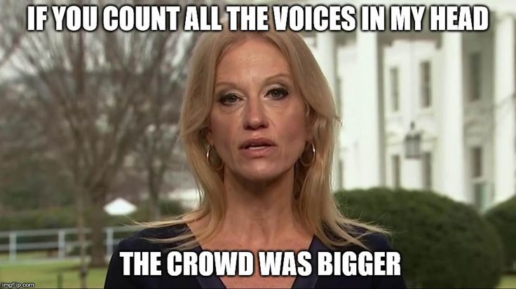 Kellyanne Conway alternative facts | IF YOU COUNT ALL THE VOICES IN MY HEAD THE CROWD WAS BIGGER | image tagged in kellyanne conway alternative facts | made w/ Imgflip meme maker