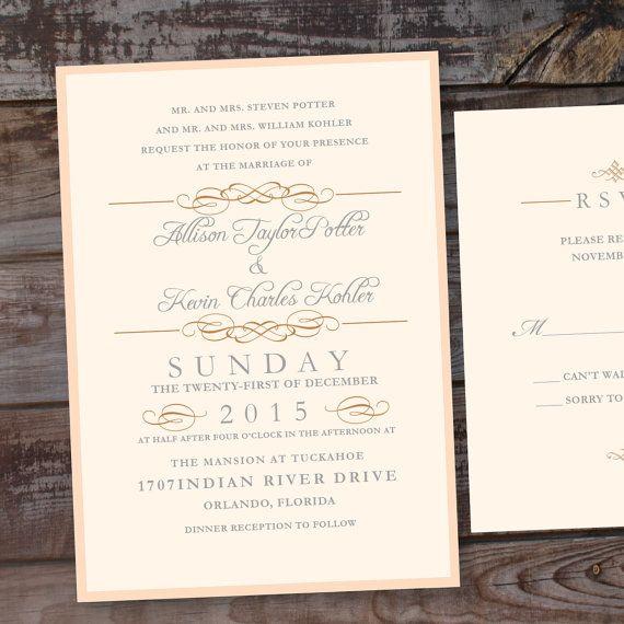 Elegant Wedding Invitations Elegant Invitations Blush by Annamalie