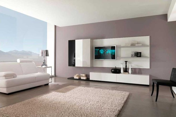 Cupboard Wall Pic with floating tv and beige display shelves and wall cabinets and installed on brown wall paint color in modern living room