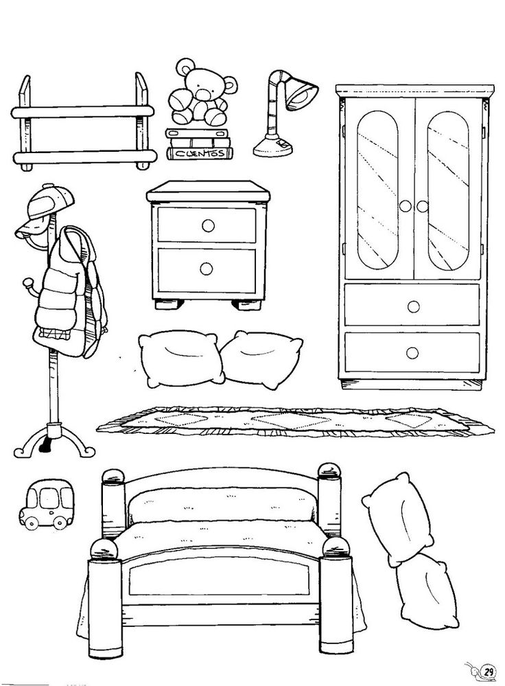 картинки предметы домашнего быта раскраски диван классическая