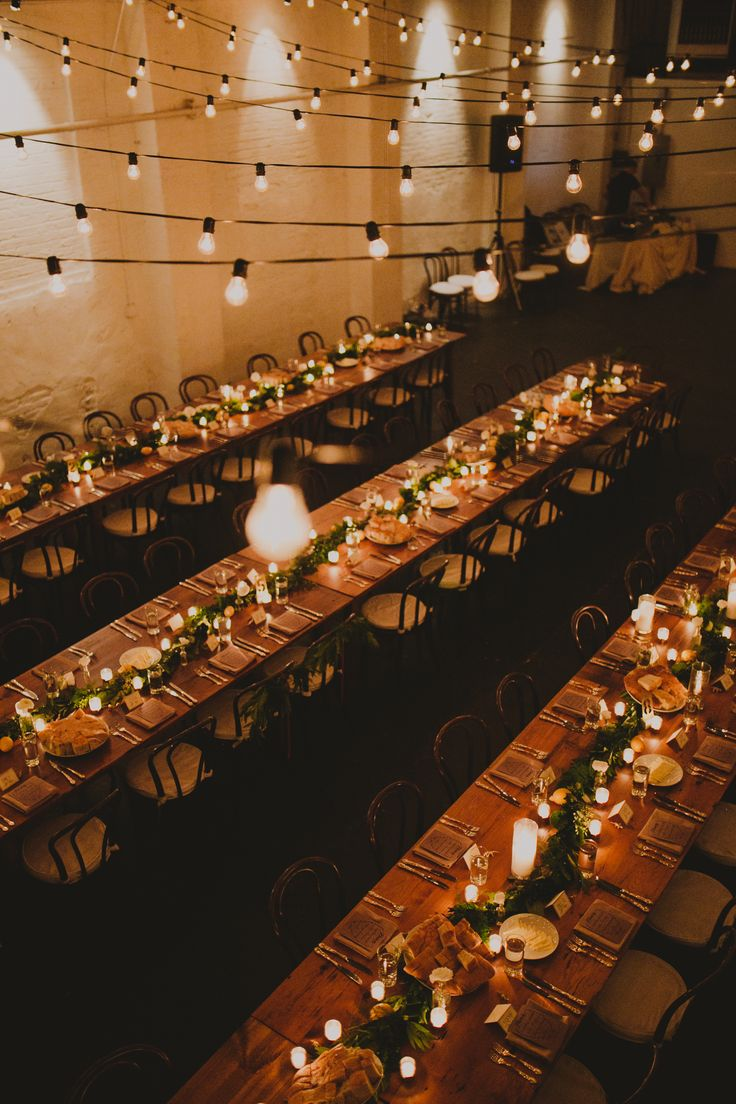Community wood farm table seating reception dinner Parlay Studios New Jersey NJ Indie Hip Non Traditional Wedding Photographer Brooklyn NYC New York Chellise Michael Photography Top Wedding Photographer