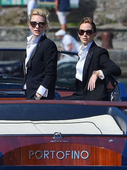 Cate Blanchett & Emily Blunt #starstuxedo don suits to film 4 the International Watch Company people.com/people/gallery… pic.twitter.com/fE6fhB4LpJ