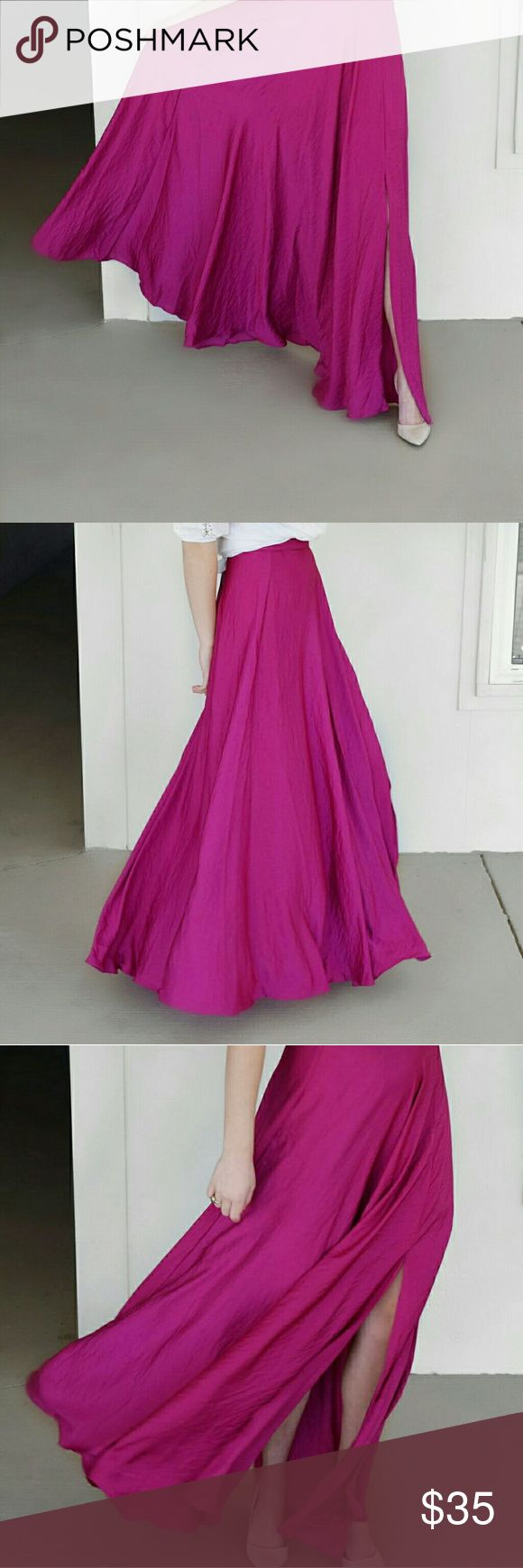 NWT Nasty Gal Stunning Purple Shiny Maxi Skirt This deep magenta/purple maxi skirt is from Nasty Gal. Brand is Lucy Paris. This skirt would be stunning in this fall and winter months. Dress it up with heels and nice top or wear it more casual with wedges and a flowy top! Perfect piece for festivals! Never worn. I am 5 foot 9 in. W/ about 3 inch heels for reference. I have a would fit 25- 28 ish inch waist. Nasty Gal Skirts Maxi