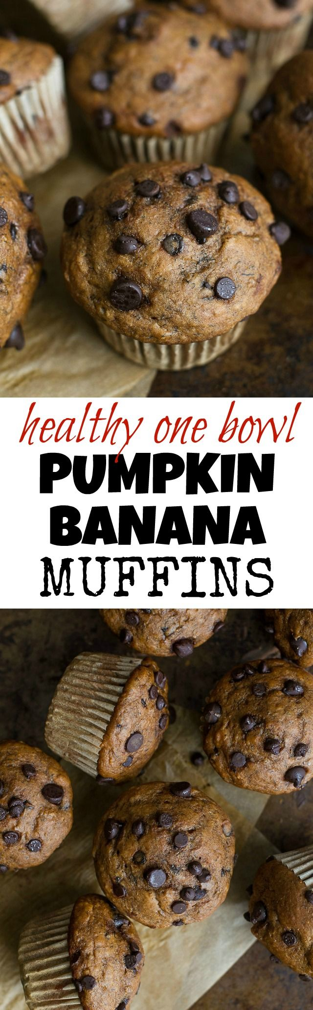 One Bowl Pumpkin Banana Muffins to help you use up overripe bananas and leftover canned pumpkin! Not quite pumpkin muffins, not quite banana muffins, they combine hints of both to create healthy muffins that are naturally sweetened and loaded with flavour | runningwithspoons.com