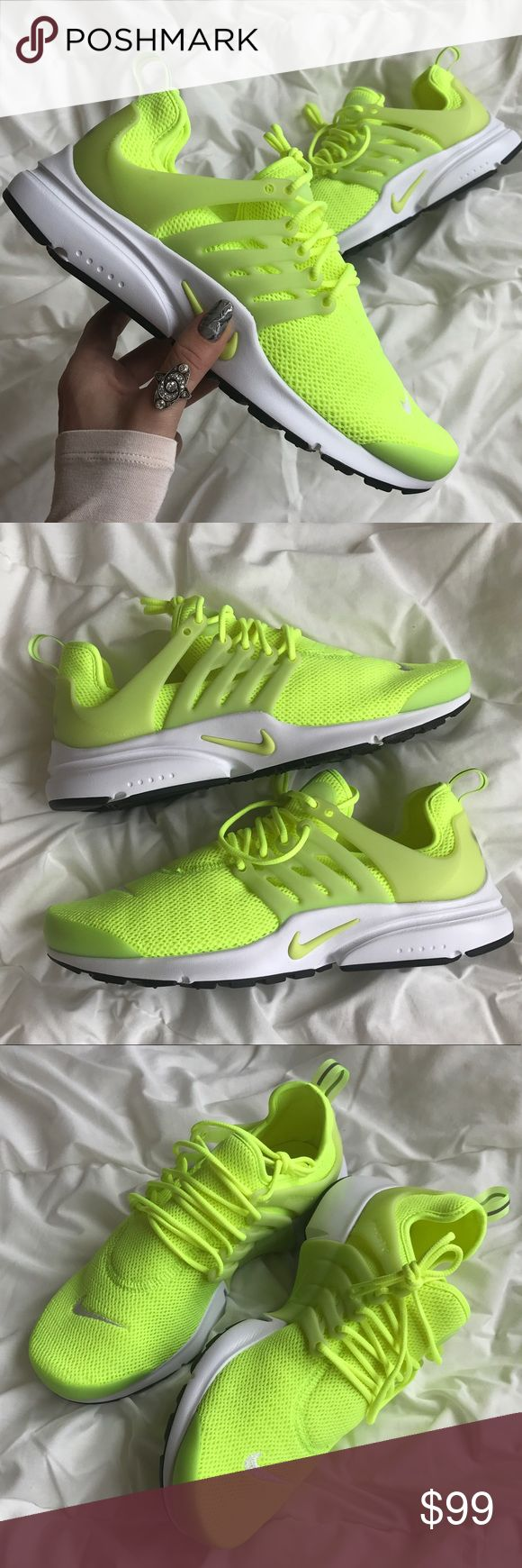 Nwt Nike Presto neon Brand new,no box lid!Price is firm!no trades!Crisp, clean and ready for the streets, a retro-futuristic runner boasts a breathable stretch-mesh upper, vibrant color and a signature molded TPU support cage. Even after 15 years, the Nike Air Presto is still turning heads. Lace-up style Removable insole Stretch-mesh upper TPU support cage Mixed treads Mesh and synthetic upper/mesh lining/rubber sole Nike Shoes Athletic Shoes