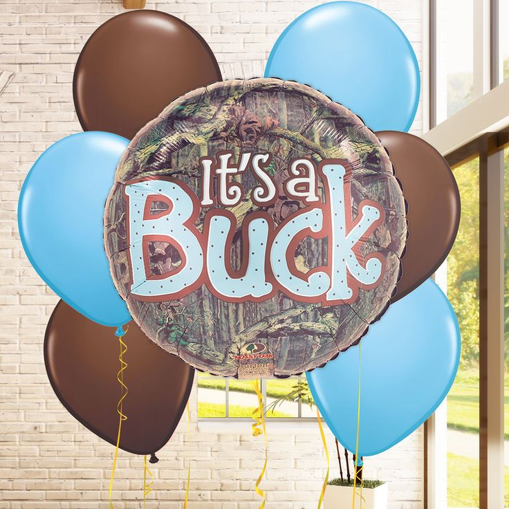 A new baby boy is coming! Celebrate the new little one with a blue camo themed baby shower, and feature these precious It's a Buck balloons.