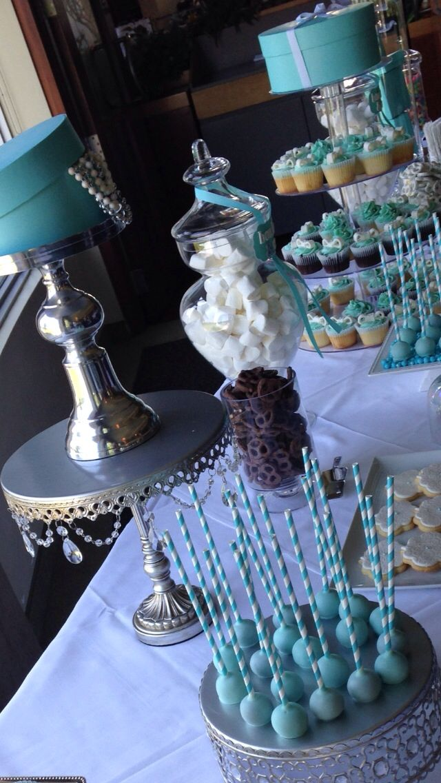 Tiffany blue Candy Bar - Bridal Shower - cupcakes Cakepops candy rocky ...