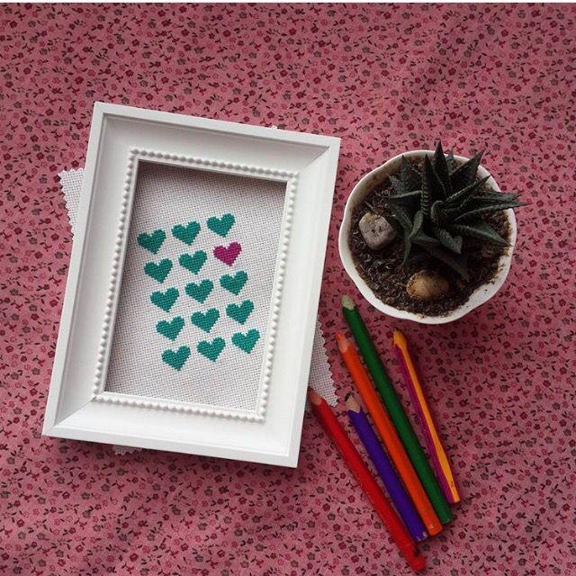 Heart,cross stitch, kaneviçe