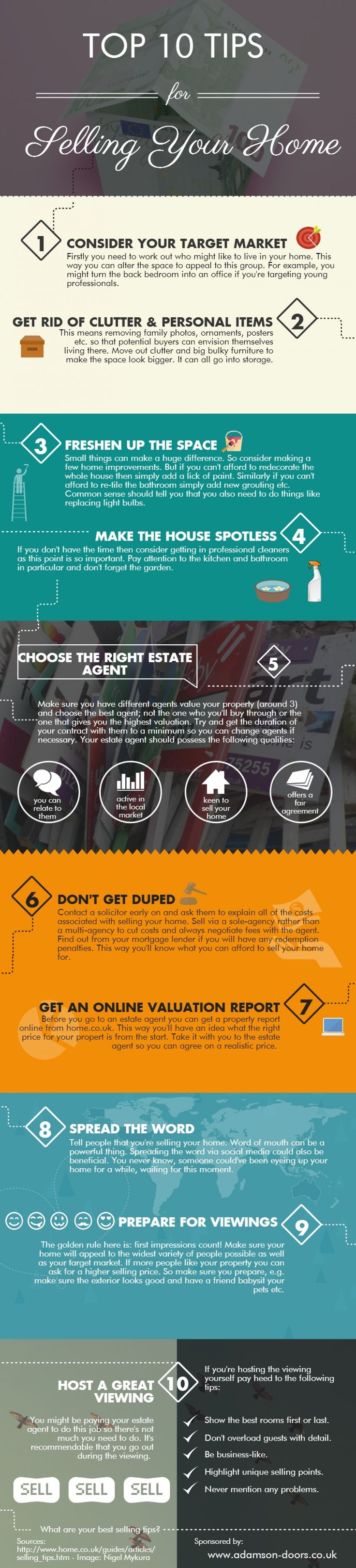 From tips on how to choose the right estate agent to preparing your home for a viewing, this infographic from Adamson Doors provides a truly comprehensive guide to selling your home.