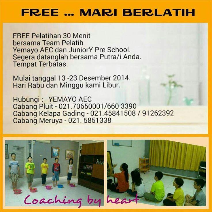 Free Pelatihan 30 menit bersama Team Pelatih Yemayo AEC dan JuniorY Pre-School...www.yemayo.com