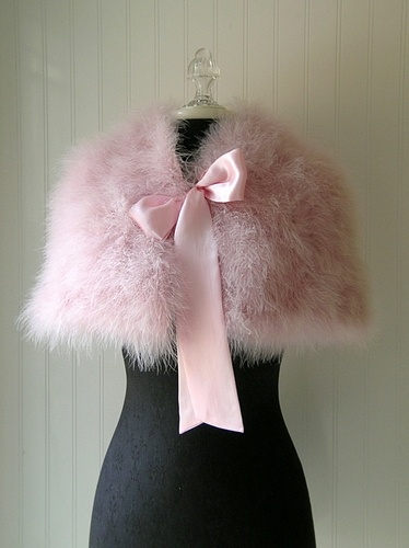 HOPELESS ROMANTIC PINK FEATHERED WRAP: Pink Feathers, French Fashion, Soft Pink, Pink Capelet, Pink Furry, Pink Wraps, Bows Wraps, Dresses Codes, Feathers Bows