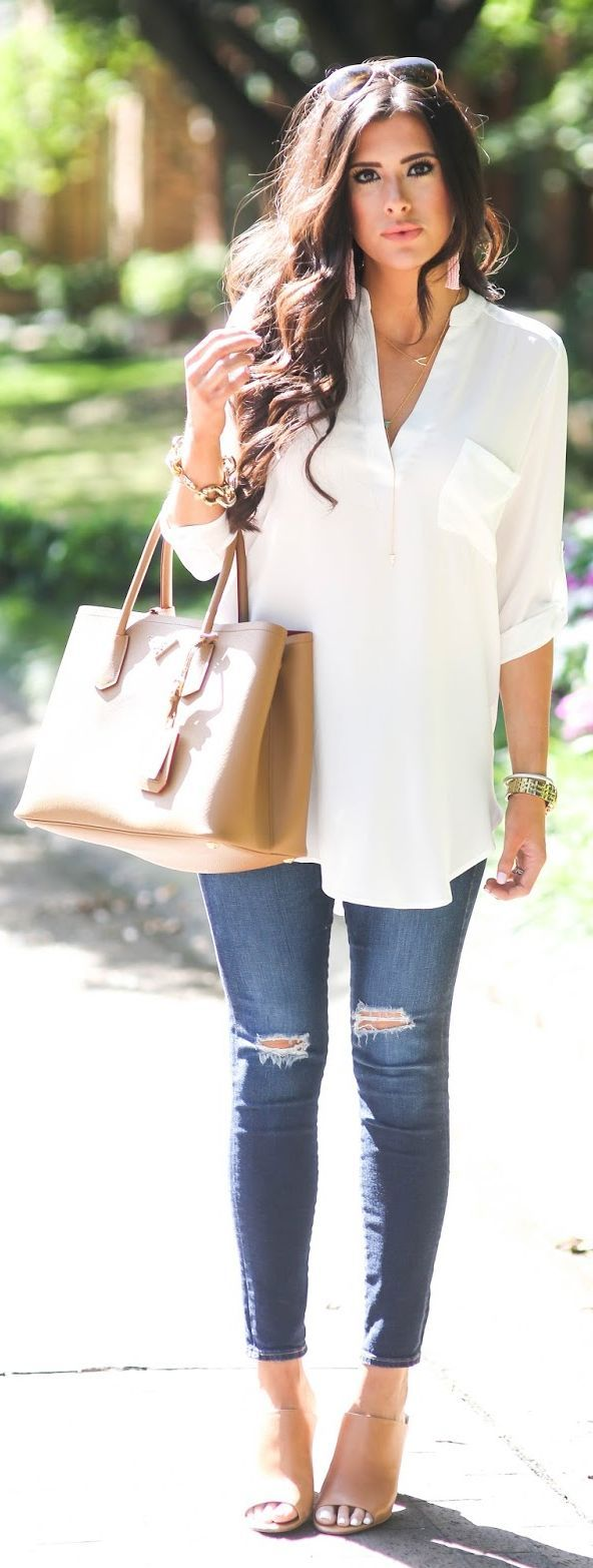 White Cute Tunic by The Sweetest Thing | Cute Jeans Outfit #jeans #fashion #style SHOP @ CollectiveStyles.com