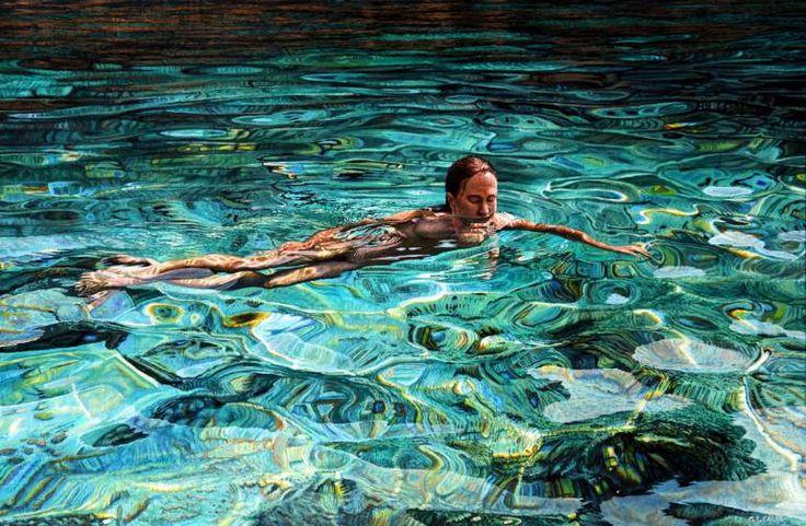 "Saatchi Art Artist Mark Cross; Painting, ""Swimming in Cyan Champaign"" #art"