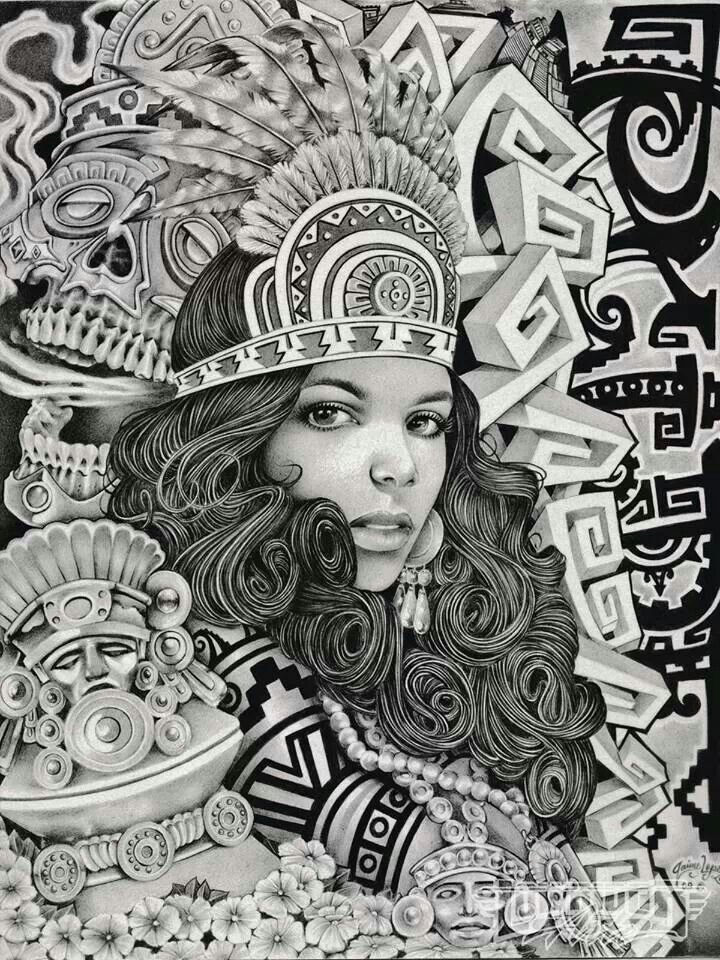 17 best images about chicano art on pinterest chicano for Aztec mural tattoos