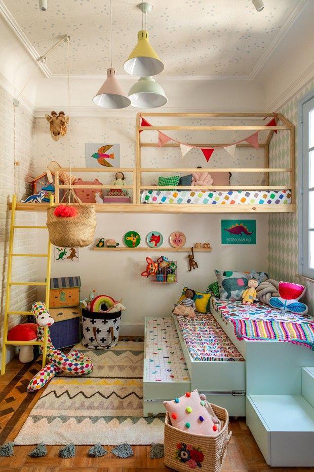 Decoração do dia: quarto infantil colorido com mezanino, tricama e tenda   – Só para crianças