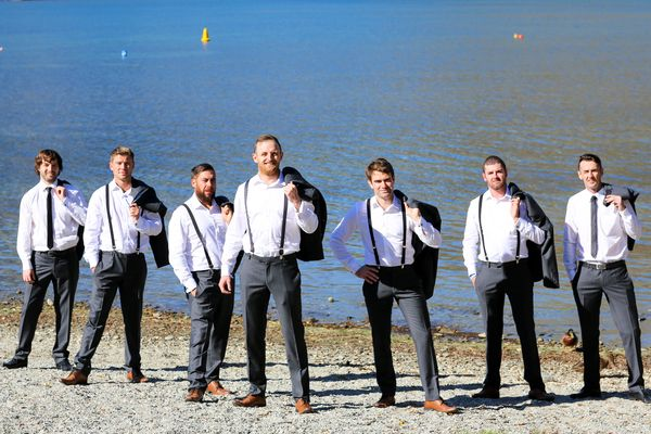 Groom and Groomsmen suited by Omen Suit Hire in Lithium Grey #duncanandlisa #omensuithire #queenstownweddings #walterspeak #suitup #suitedandbooted Photo courtesy of Felicity Jean Photography