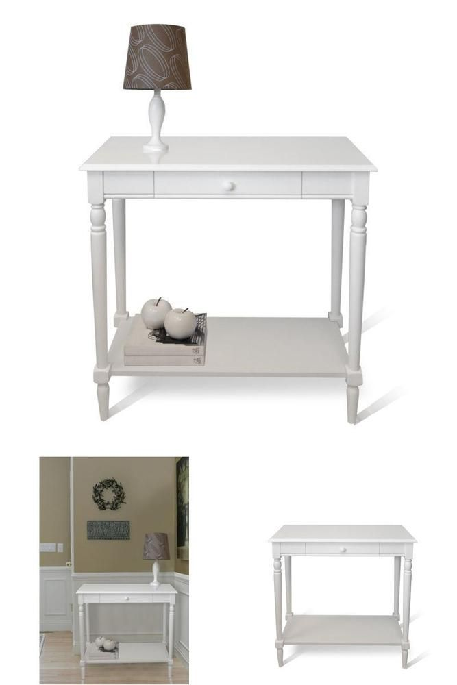 Living Room Table Hall Decoration Drawer Shelf Furniture Console white Kitchen  #ConvenienceConcepts => Easy & pleasant transaction => Quick delivery => 100% Feedback => http://bit.ly/24_hours_open #Hall,#Table,#Coffee,#Corner,#Furniture,#Decoration