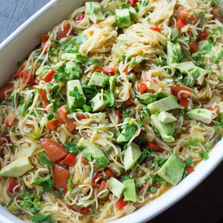 This mexican pasta dish has quickly become one of my favorites.   It is a one pot dish that is ready in under 30 minutes.  I love how the cooking liquid becomes a creamy sauce with a  delicious smokey chipotle touch.  Fideos is a thin noodle used in Mexican and Spanish cooking. You can find  it in Latino markets, but you can also substitute capellini pasta.  ( to make gluten-free simple use gluten-free pasta)  Mexican Fideos  serves 4      * 2 tbsp extra virgin olive oil     * 8 ounces of…