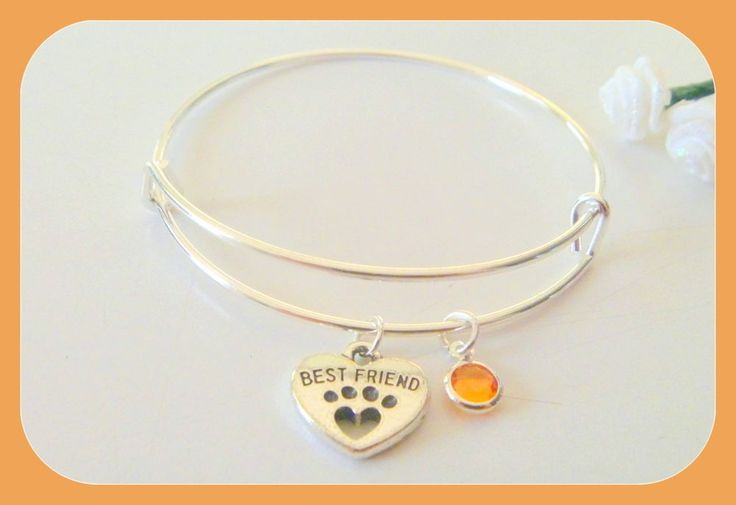 Personalized Custom Birthstone Initial Best Friend Dog Paw Print Bangle Bracelet #Handmade #Bangle