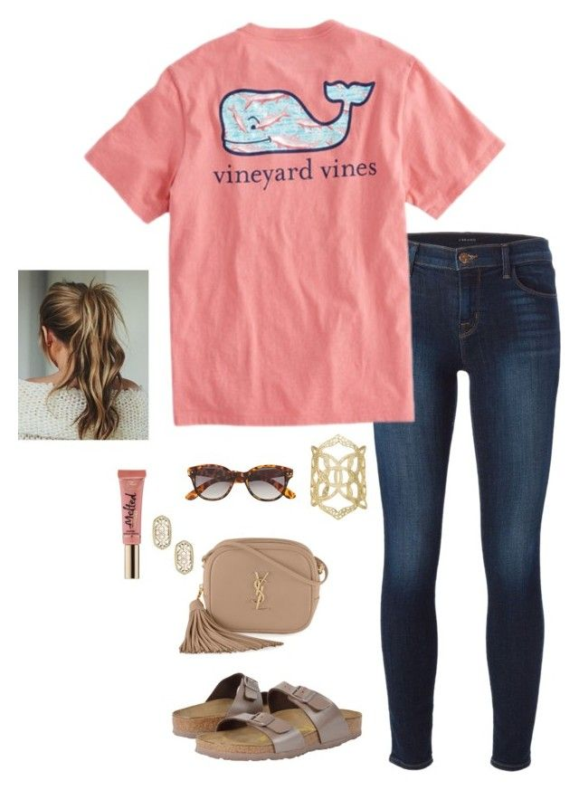 """""""VBS is next week... And I'm helping out with the 5th and 6th graders."""" by oliviacat1215 ❤ liked on Polyvore featuring J Brand, Vineyard Vines, Birkenstock, Kendra Scott, H&M, Yves Saint Laurent and Too Faced Cosmetics"""