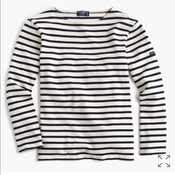 Saint James unisex nautical shirt Worn 3x. Bought from J. Crew. Please note this unisex version in marine/ecru. This is a xx-small in women. The arms for this shirt is on the looser side. It is of a thicker material. Very classic. J. Crew Tops Tees - Long Sleeve