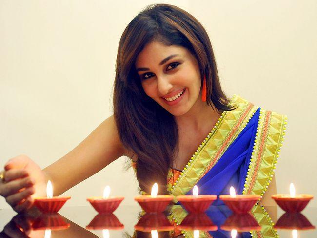Pooja Chopra in a pretty blue and yellow sari. #Bollywood #Fashion #Style #Beauty