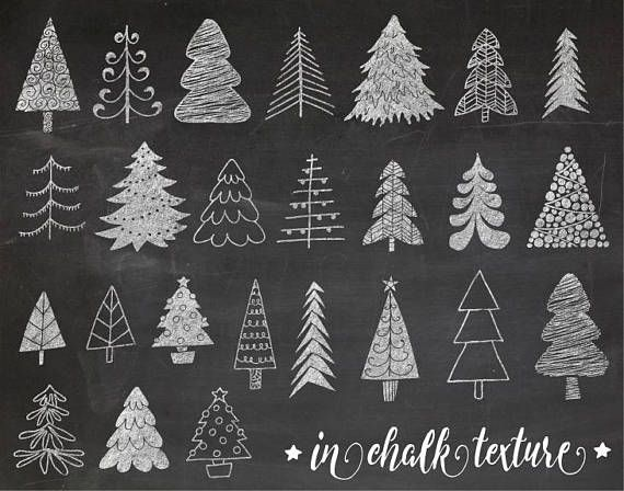 Chalkboard Christmas Tree Clip Art Hand Drawn Chalk Christmas Illustrations White Doodle Winter Clipart For Gift Tags Diy Greeting Cards In 2020 Christmas Chalkboard Christmas Tree Clipart Gift Tags Diy