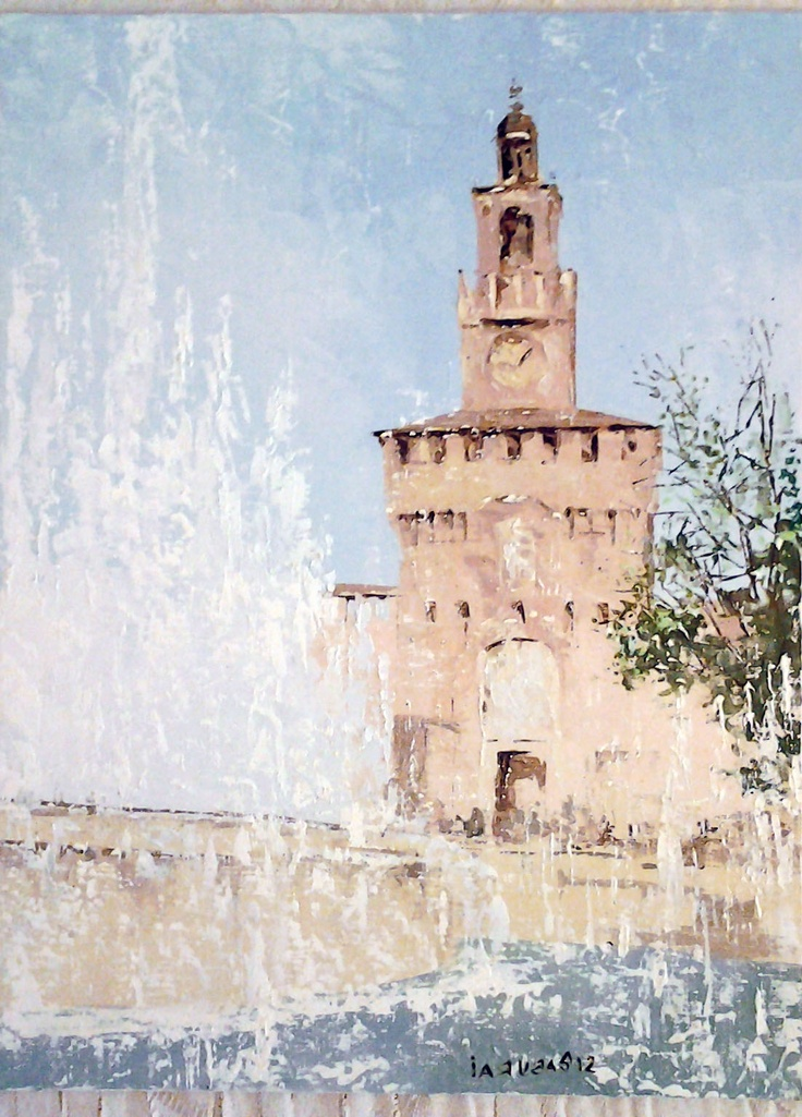 Piazza Castello, Milan, Oil on Canvas Panel, original painting $60 (in euro) 30 cm x 40 cm