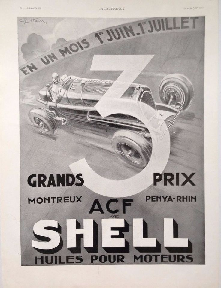 SHELL MOTOR OIL AD RETRO GEO HAM GRAND PRIX RACING ART 1930s vintage advertising