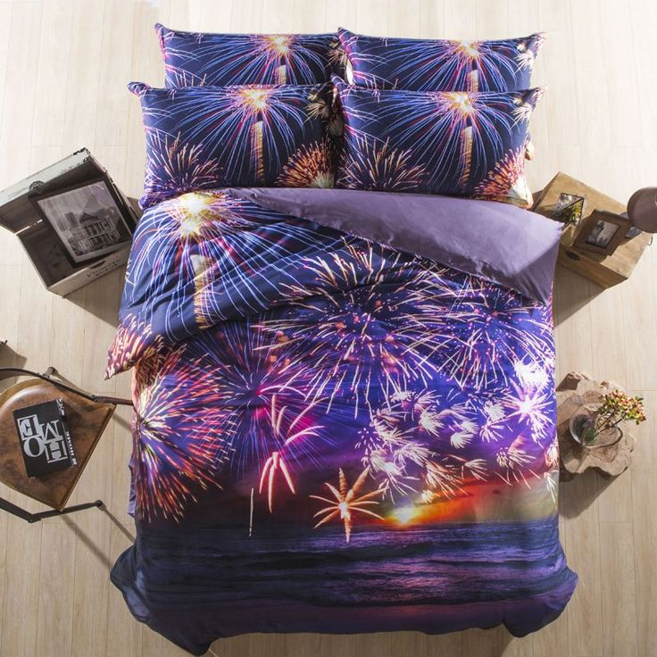 100% Cotton 3D bed linen Fireworks kids Elephant bedding sets white and purple duvet cover set king/queen size bedsheet //Price: $79.26 & FREE Shipping //     #bedding sets