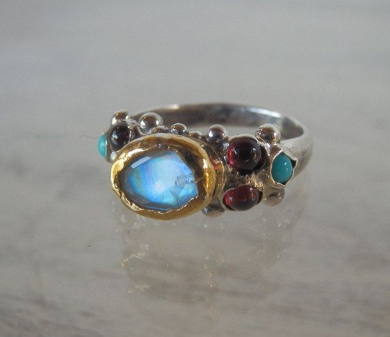 Oval Moonstone Engagement Ring Silver and 24K Gold by yifatbareket